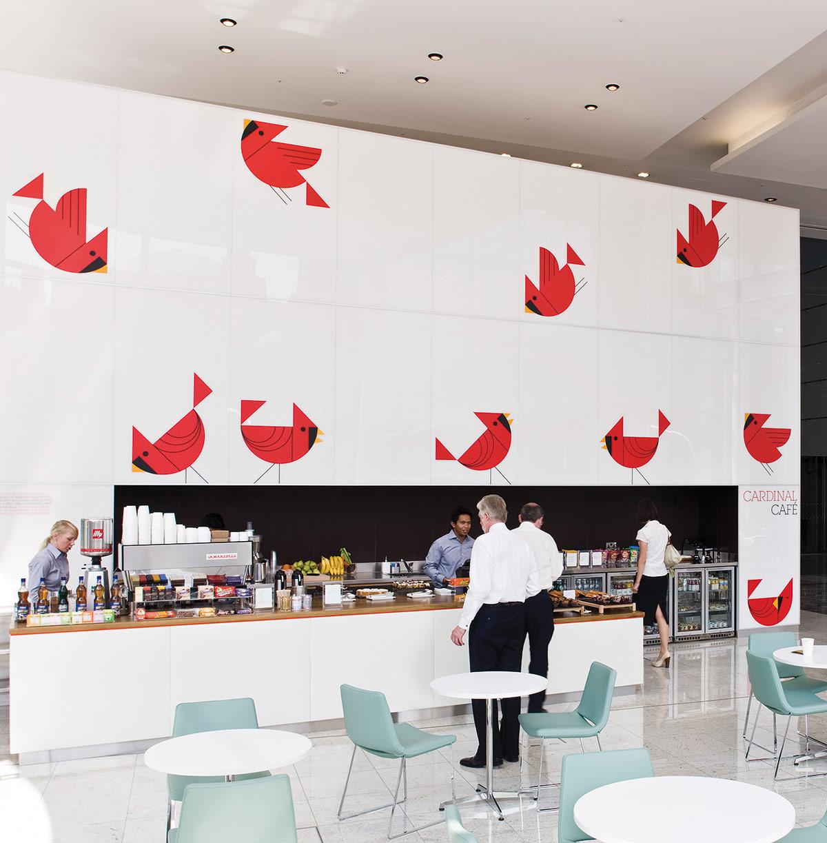 Cardinal Café. Designed by Hat-Trick Design. @enviromeant.com