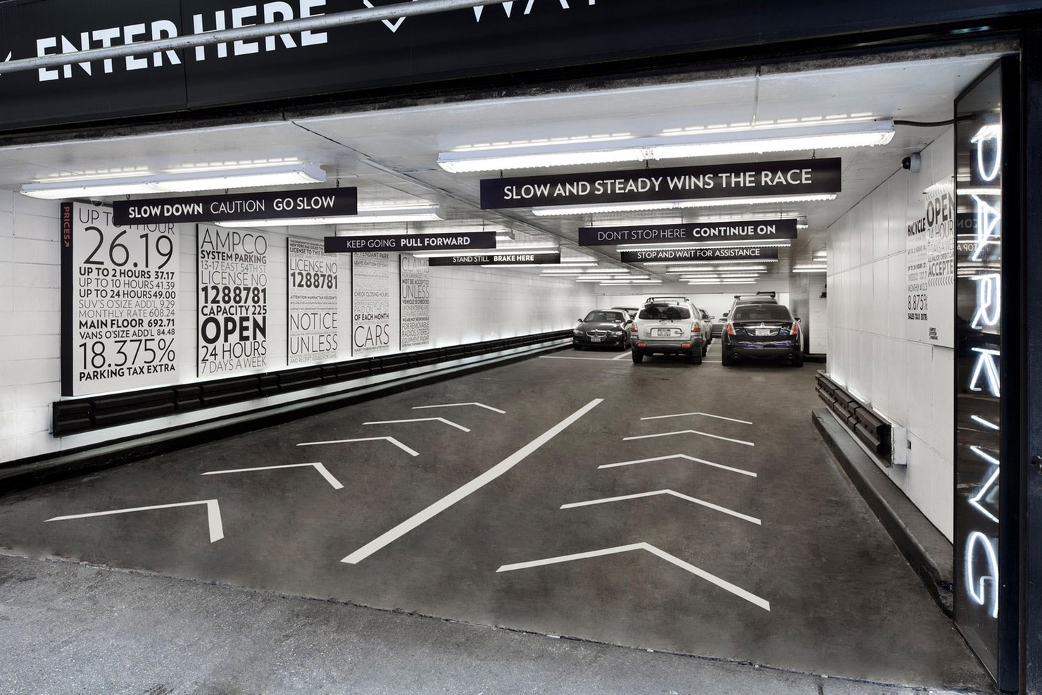 Parking at 13-17 East 54th St. Designed by Pentagram / @enviromeant.com