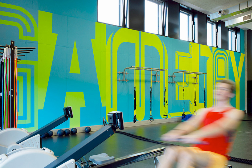 Adidas Gym. Environmental graphics designed by Buro Uebele @enviromeant.com