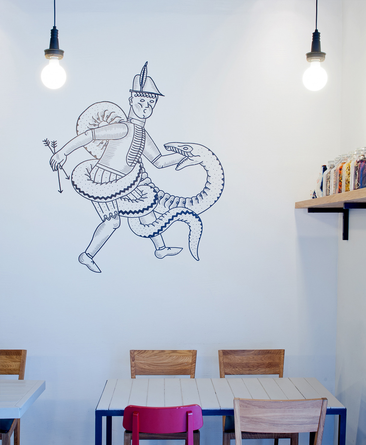 Branded space for Drama Burgers / Designed by New! Creative Agency @enviromeant