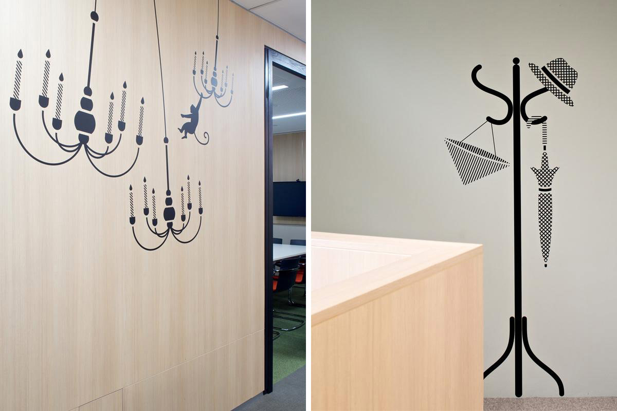 There designed a series of illustrations and signage system for Credit Suisse workplace @enviromeant