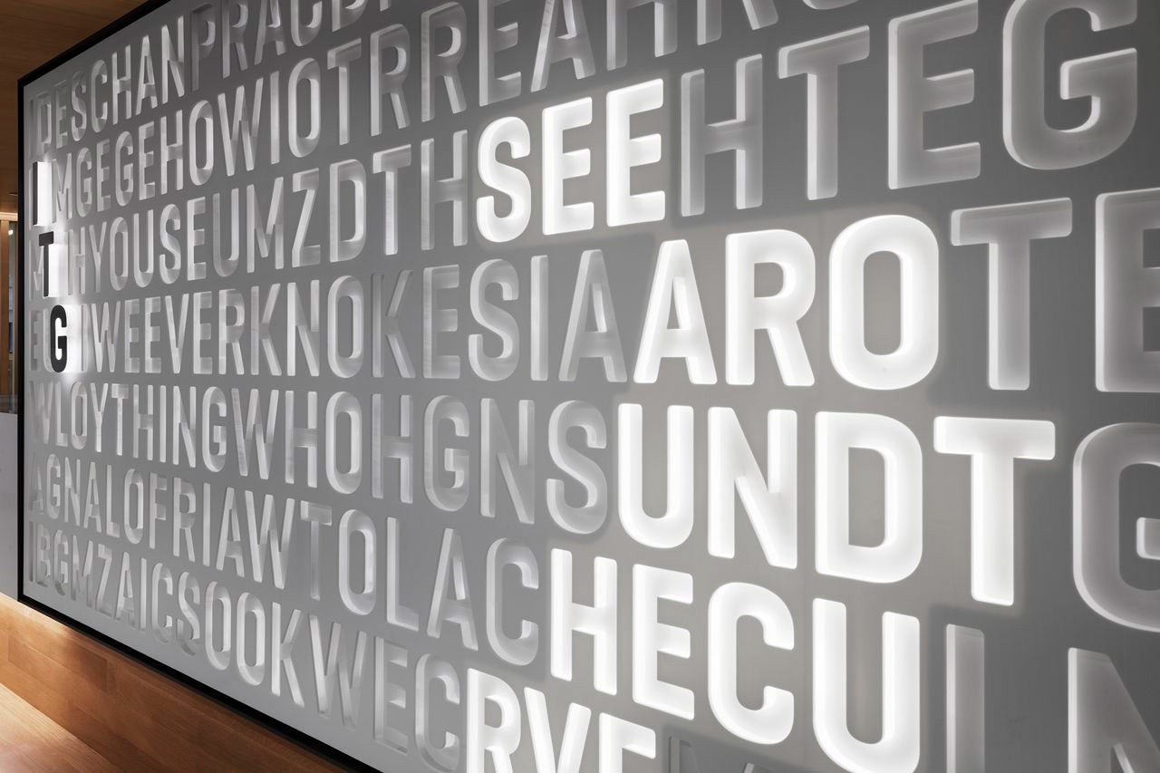 Typography and light display for ITG. Designed by Landor @enviromeant