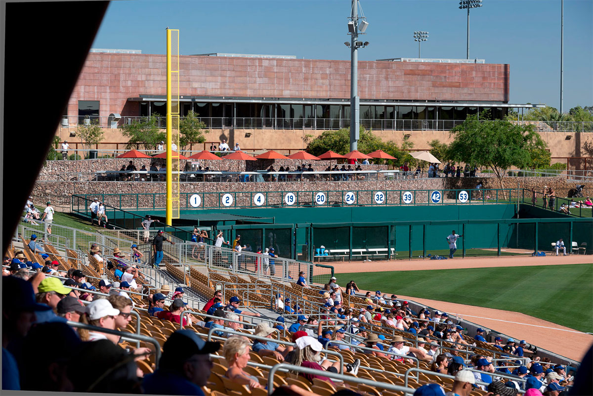 Wayfinding signs for Camelback Ranch / Dodger's Spring Training facility. Designed by Younts Design Inc. @enviromean