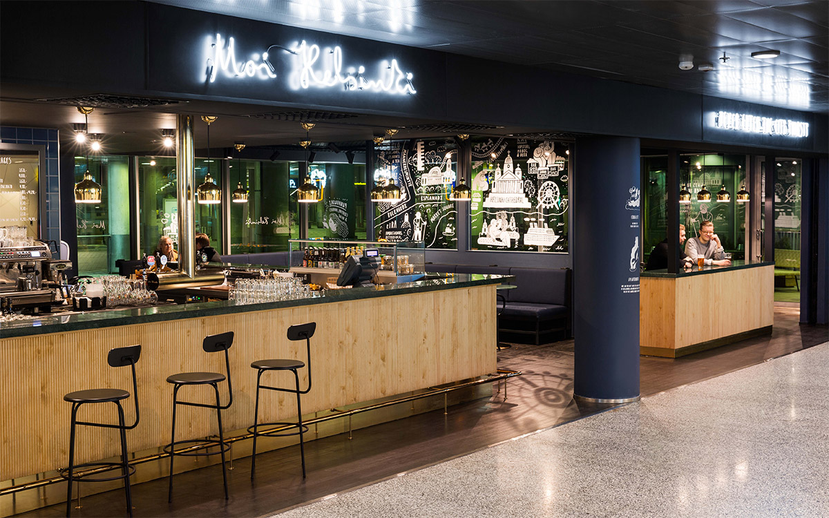 Environmental Graphics and interior design for the bar Moi Helsinki. Designed by Bond. @enviromeant.com