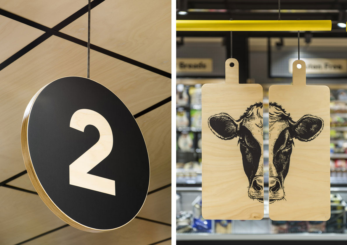 Environmental graphics and interior design for Drakes Foodland Wayville. Designed by We're Open. @enviromeant.com
