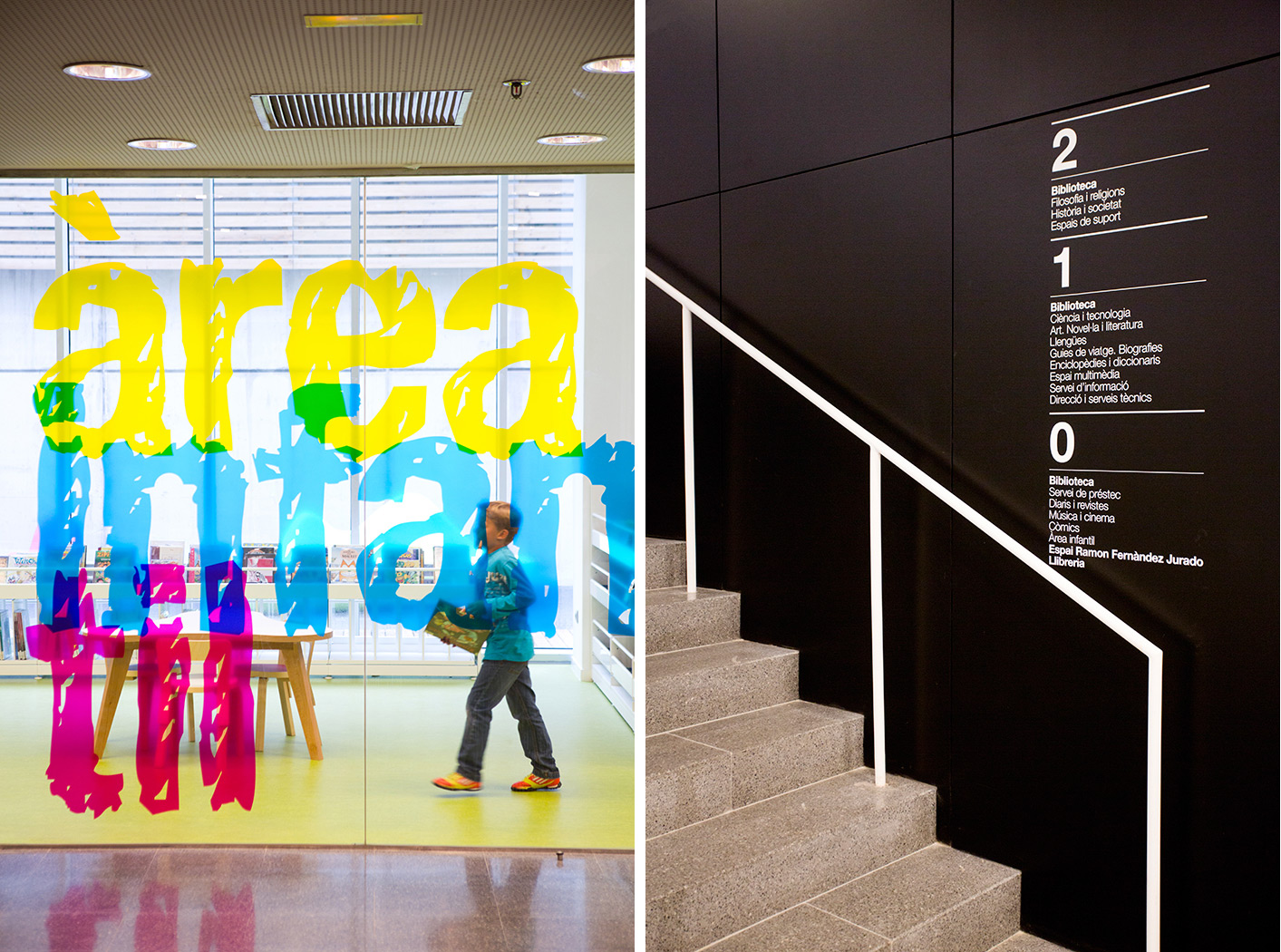 Environmental Graphics for Biblioteca Central de Castelldefels. Designed by PFP, Disseny Gràfic @enviromeant.com