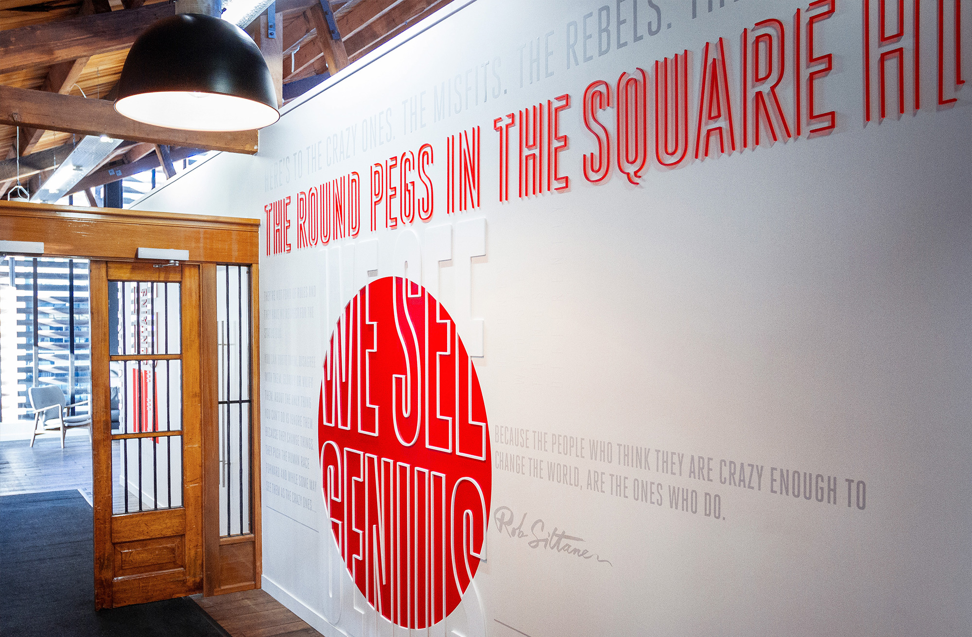 Inspirational quotes for experiential graphics for Ogilvy & Mather New Zealand Office. @enviromeant.com