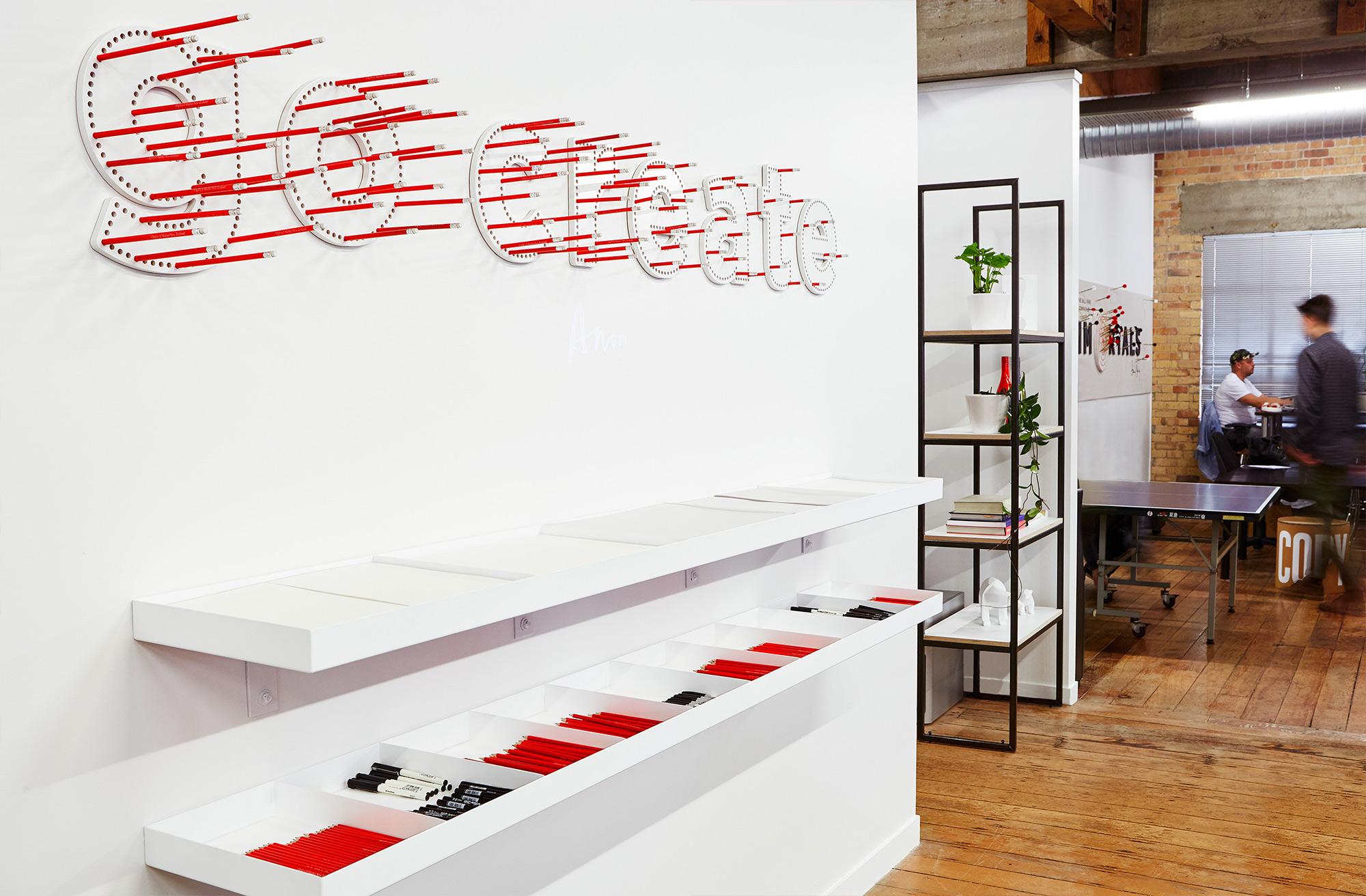 Pencils for interior design of Ogilvy & Mather New Zealand HQ. @enviromeant.com