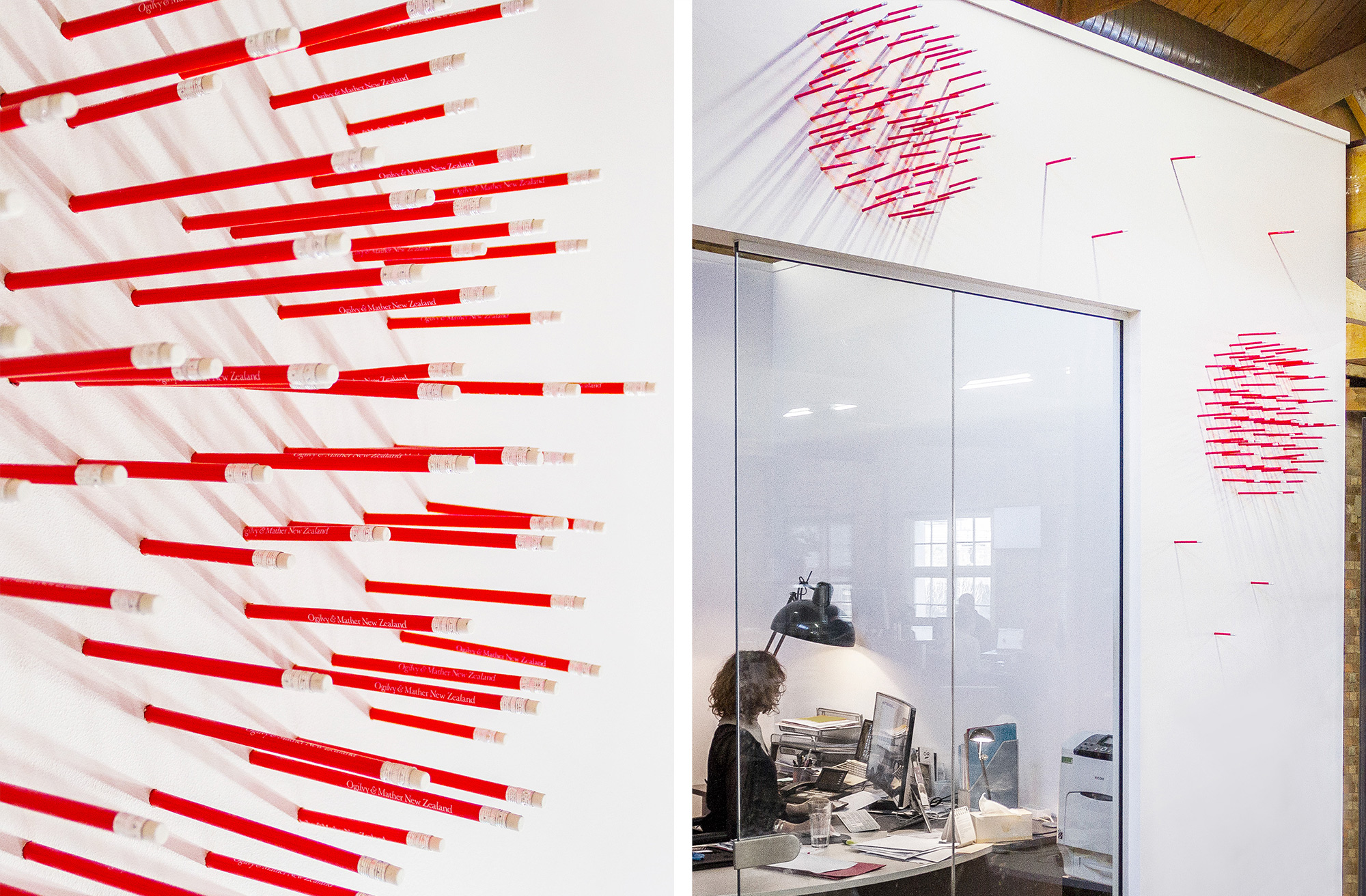 Pencils used in experiential graphics for Ogilvy & Mather New Zealand HQ. @enviromeant.com