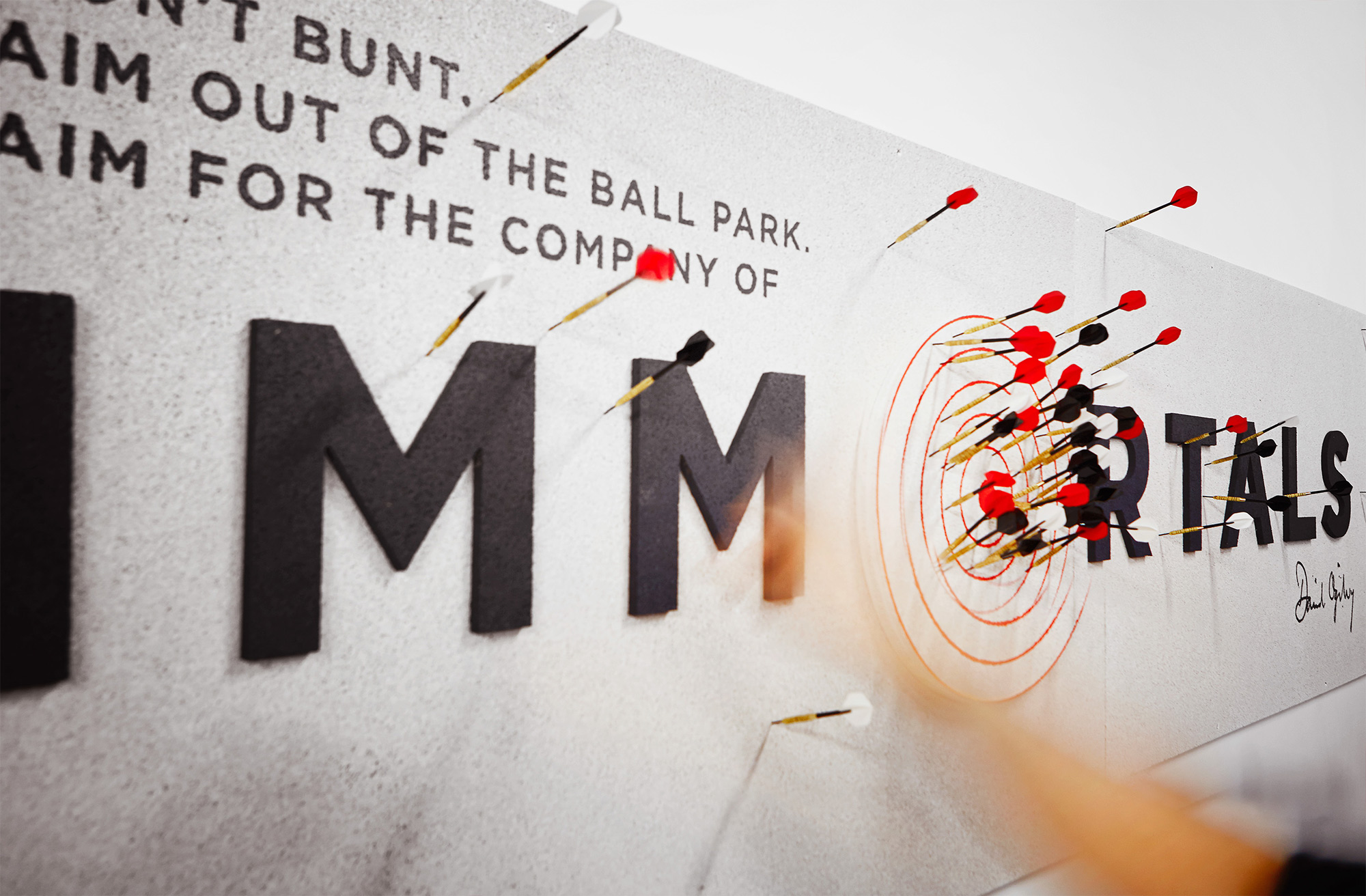Typography and darts for Ogilvy & Mather New Zealand HQ. @enviromeant.com